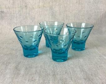 Vintage Blue Capri Dot Whiskey Glasses, Set of 4, Mid Century Modern Barware