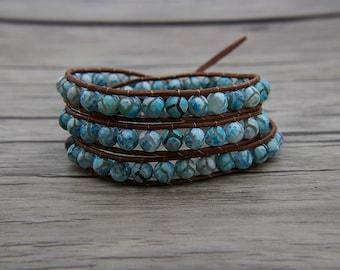 blue agate bracelet blue beads bracelet leather wrap bracelet Boho bracelet 3 wraps bracelet yoga bracelet blue jewelry SL-0571