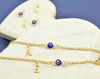 Tiny Evil Eye Bracelet, Greek Evil Eye Bracelet, Greek Letter Bracelet, Evil Eye Jewelry, Bracelet with Gold Evil Eye, Evil Eye For Women