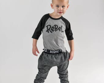 Rebel kids tee - rebel child - rebel shirt for kids - trendy boy clothes - Monochrome raglan - screen printed tees - t shirt - outfit - top