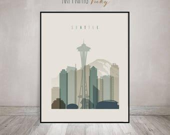 Seattle art print, Seattle poster, Wall art, Seattle skyline, City prints, Travel gift, Home Decor, Digital Print, ArtPrintsVicky