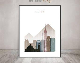 Cairo art print, Cairo skyline, Poster, Wall art, Travel Decor, Egypt art, distressed art, City poster, Gift, Home Decor, ArtPrintsVicky