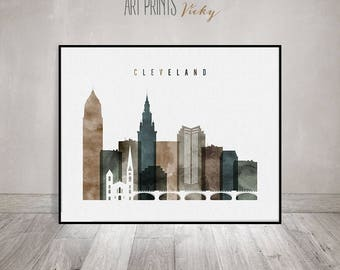 Cleveland print, Cleveland Wall art, Cleveland skyline, watercolor poster, Travel decor, Travel gift, Ohio, home decor, ArtPrintsVicky