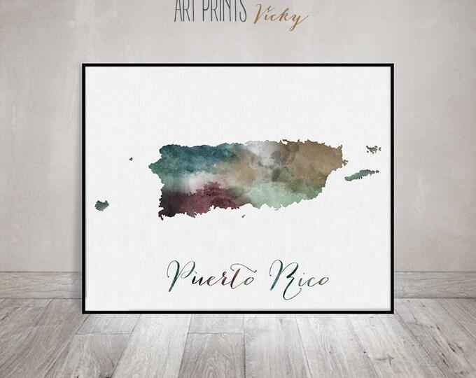 Puerto Rico map, watercolor print, Puerto Rico poster, Wall art, Caribbean print, Travel, Gift, Home Decor, Office Decor, ArtPrintsVicky