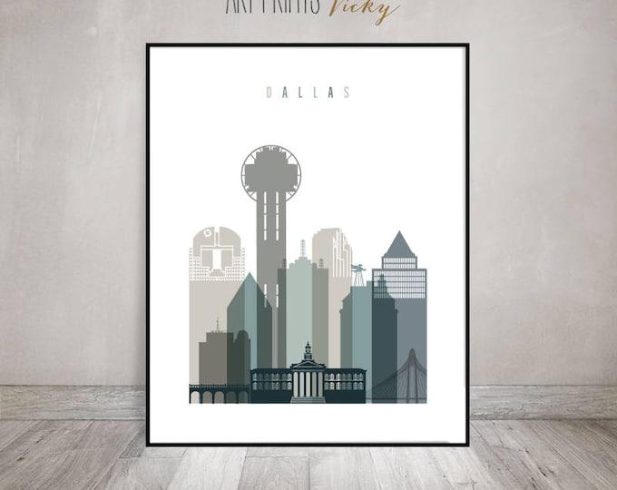 Dallas wall art, Dallas print, travel poster, Dallas skyline, housewarming gift, Travel gift, Wall decor, Home Decor, ArtPrintsVicky
