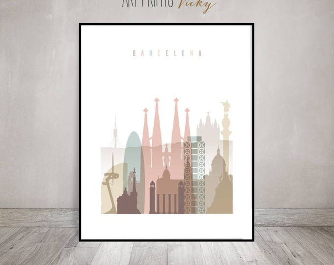Barcelona print, Barcelona skyline, Travel poster, Wall art, Spain, housewarming gift, Travel gift, Home Decor, ArtPrintsVicky