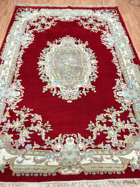 """6'6"""" x 9'6"""" Chinese Aubusson Oriental Rug - Full Pile - Hand Made - 100% Wool"""