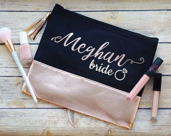 Personalized Cosmetic Bag / Rose Gold Bridesmaid Gift / Make Up Bag / Bridesmaid Proposal / Rose Gold Cosmetic Pouch / Bridal Party Gifts