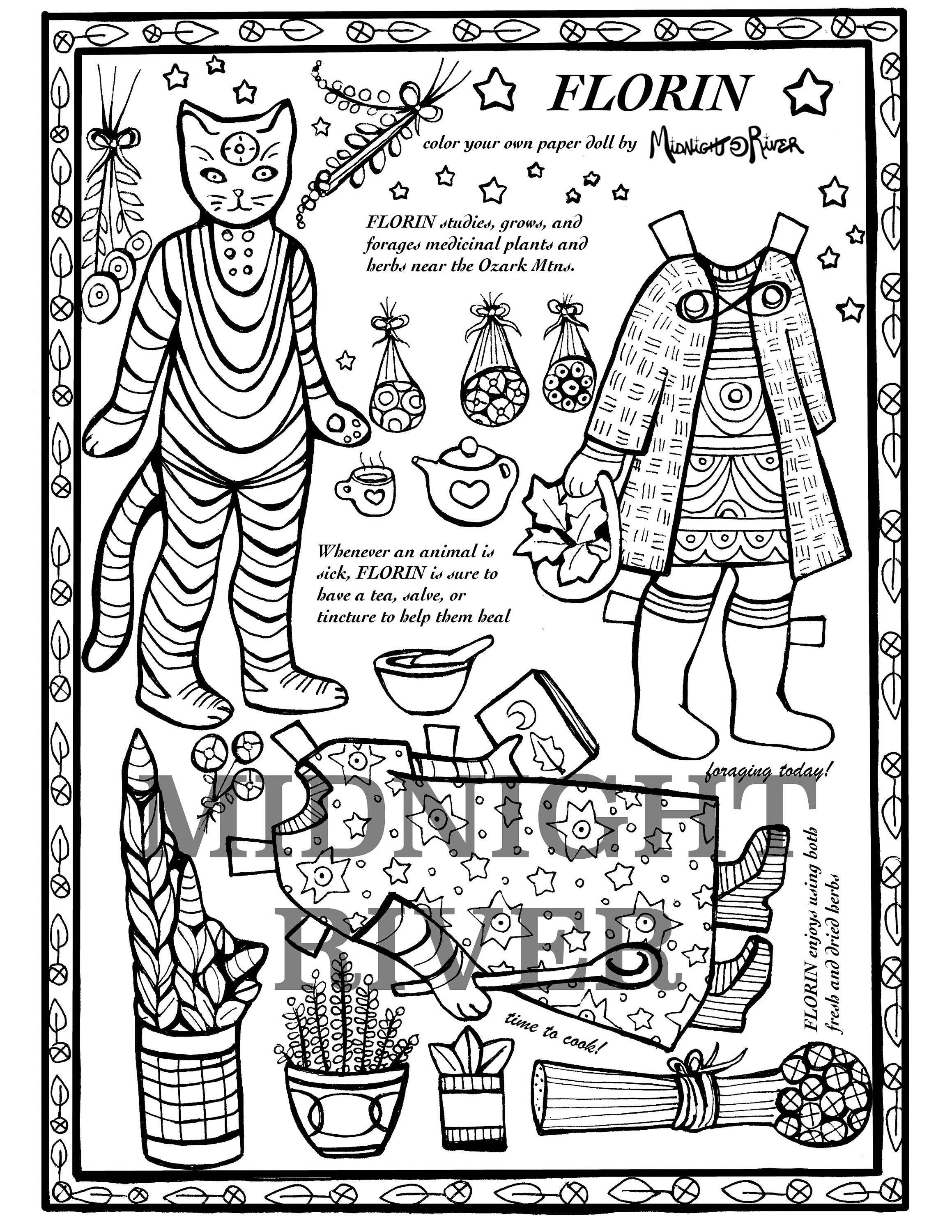 Herbalist Cat Paper Doll FLORIN // Printable Coloring Page // Magical Cat w/Two Outfits // Downloadable PDF