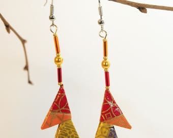 "Origami earrings ""Triangles currants, Mandarin and lemon"""