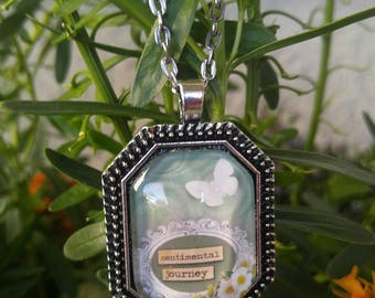 Sentimental journey necklace, butterfly, flowers, vintage, country chic, thinking of you, gifts for her, gifts for mom, happy birthday