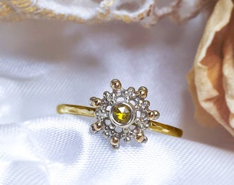 Rough Yellow Diamond ring, Diamond Halo ring, 9ct, 14ct, 18ct solid Yellow Gold ring, Milgrain ring, Wedding ring, handcrafted ring.