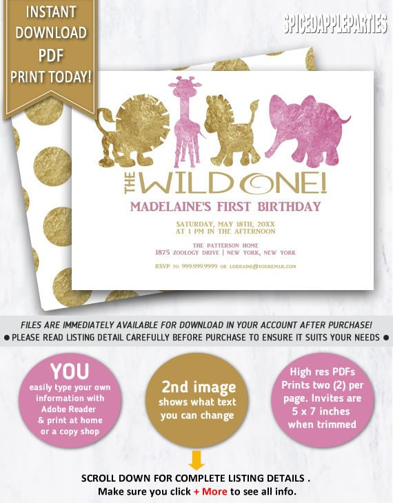 Babys first birthday invitation 1st birthday zoo animals wild one il570xn stopboris Gallery