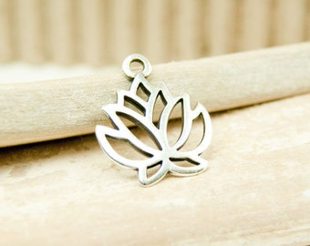 1x Lotus Pendant silver plated 19 mm #4715