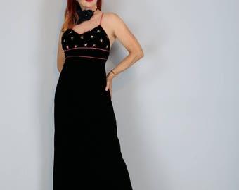 "1980s Evening Dress - Black Velvet Embroidered Floral Maxi Dress - XS/S 26"" Waist - Spaghetti Straps - Cross Back - Backless - Vintage"