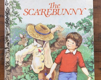 vintage The Scarebunny, Little Golden Book by Dorothy Kunhardt, Kathy Wilburn, 1985 edition, 209-59, family garden, farming, childrens book
