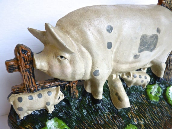 PIG CAST IRON Doorstop ~ Pig and Her Piglets Will Keep Your Door Open ~ Patio Decor ~ Vintage Doorstop