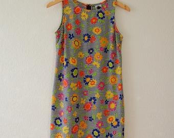 1990s California Concepts Floral Checkered Mini Dress