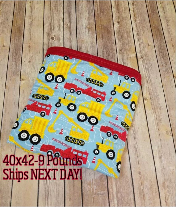Construction, 9 Pound, WEIGHTED BLANKET, Ready To Ship, 9 pounds, 40x42 for Autism, Sensory, ADHD