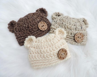 PICK YOUR COLOR - Acrylic - Newborn Baby Bear Hat, Newborn Bear Hat, Baby Bear Beanie