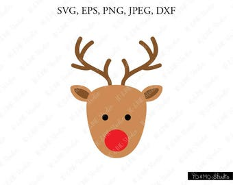 Reindeer SVG, Christmas SVG, Reindeer Head Svg, Reindeer Clip Art, Reindeer Face SVG, Christmas Reindeer, Cricut, Silhouette Cut File