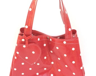 Polka Dot Bag – Market Bag – Red Polka Dot Bag - Shopping Bag – Oilcloth Bags – Oilcloth Tote Bag – Red Handbag – Beach Bag – Oilcloth Tote