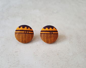 Tribal Print Studs - African Studs - Ankara Fabric Stud Earrings - African Fabric Earrings - Fabric Stud Earrings - Fabric Button Earrings
