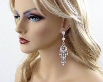 Long Chandelier Bridal Earrings, Chandelier Crystal statement earrings Wedding earrings, long Bride statement earrings rhinestone earrings