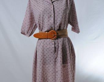 Vintage pink gray polka dot midi dress