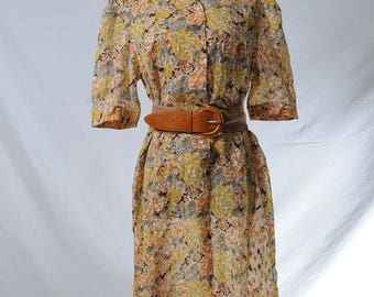 Vintage yellow orange floral print semi-sheer midi dress