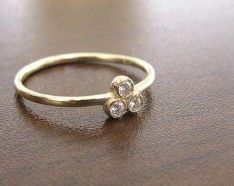 Yellow Gold Diamond Promise Ring, Delicate Wedding Band, Engagement Ring Diamond, Anniversary Ring, Solitaire Ring, Thin Band Diamond Ring