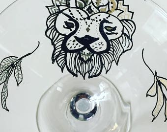 Hand painted Martini Glass Custom Lion Martini Glass Gold Black Mandala