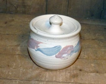 Sugar Bowl  hand thrown with lid, artisan signed - 1477