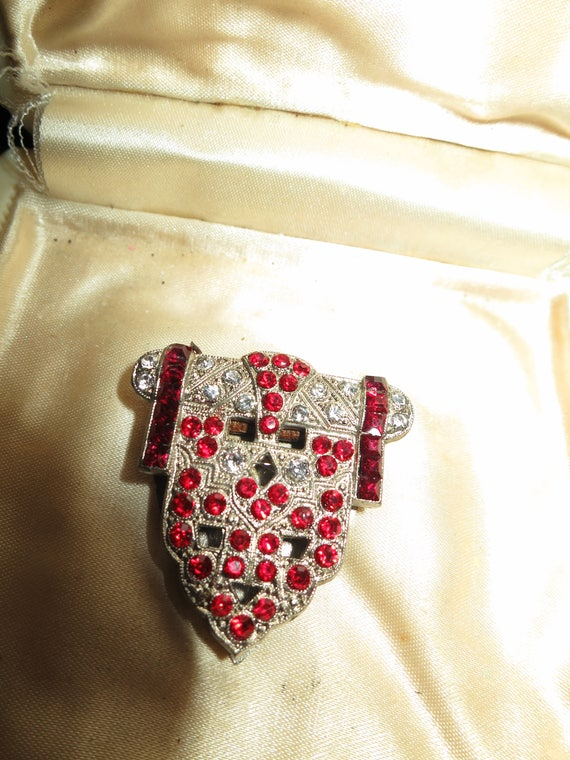 Lovely vintage Deco Czech silvertone clear and red rhinestone dress clip or brooch
