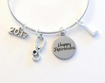 Gift for Nurse Retirement, 2017 or 2018 Charm Bracelet Head Veterinarian Vet Doctor Jewelry Silver Bangle initial women ladies stethoscope