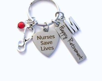 Retirement Gift for Male Nurse Keychain, Men Women Nursing Keyring, Nurses Save Lives Key Chain, Present him her Stethoscope charm medical