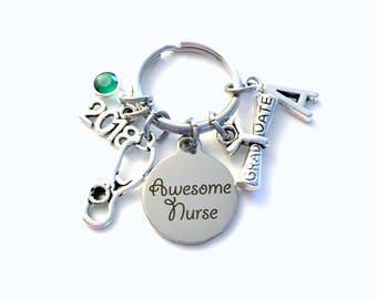 Graduation Gift for Awesome Nurse Keychain, 2018 Nursing Keyring Key Chain, Present her women Men Stethoscope charm scroll birthstone him