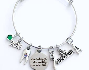 Graduation Gift for Dental Assistant, 2018 DA Jewelry Charm Bracelet Bangle Graduate Dentist Women Her She believed she could so she did CDA