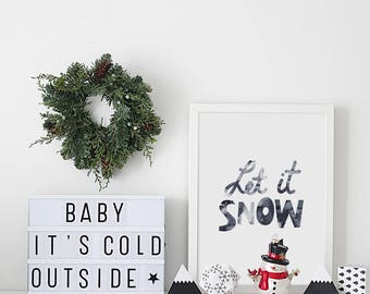Let it snow print, Christmas quote, winter wall decor, Christmas gift ideas, kids wall print, Christmas decor, kids decor, Christmas gifts