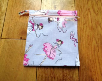 Snack Bag - Bikini Bag - Lunch Bag  - Zero Waste Medium Poppins Waterproof Lined Zip Pouch - Sandwich bag - Eco - Ballerina Ballet Tutu