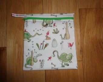 Reuseable Wrap - Bikini Bag - Lunch Bag  - Zero Waste Medium Poppins Waterproof Lined Zip Pouch - Sandwich bag - Eco - T-Rex Dinosaur