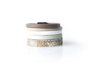 Bracelet Natural Light Beige Handcrafted Stitched Leather, Bohemian Bracelet Reconstructed