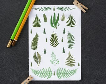 fern stickers forest stickers botanical stickers green stickers planner stickers bullet journal stickers garden decorative stickers ST003