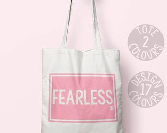 Fearless canvas tote bag, eco friendly bag, personalized gift for best friend, activist, nasty woman, demonstration, resistance, girl power