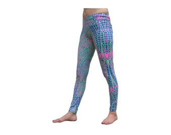 Trippy tights, Acid Dragonfly. Stretch leggings, Hand-printed cotton lycra leggings. UV active psychedelic leggings, yoga leggings, Party