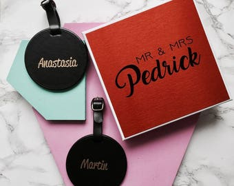Mr & Mrs Luggage Tag Set with Gift Box