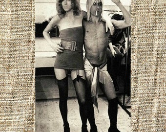 David Bowie and Iggy Pop photograph, black and white photo print, vintage photograph, rock music decor, gift for him