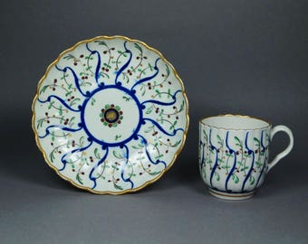 Rare 18th Century Worcester Flight Period Porcelain Cup And Saucer Circa 1780