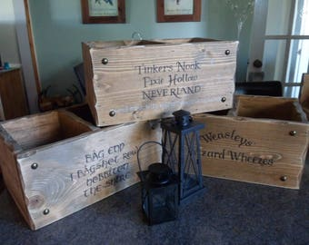 Custom personalised storage box ideas 1 Bag End Tinkers Nook Potions & Spells No muggles boxes  Game of Thrones Lord Of the Rings crate