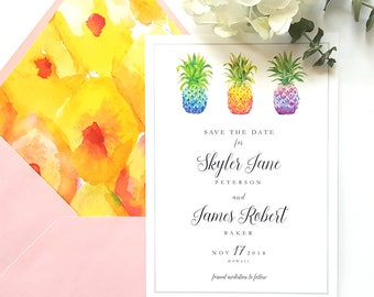 save the date postcard // pineapples // tropical wedding // destination wedding // printable save the date // save the dates // wedding